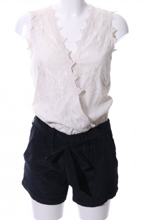 Vila Jumpsuit weiß-schwarz Blumenmuster Casual-Look