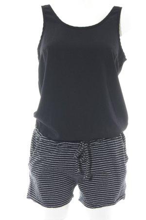 Vila Jumpsuit schwarz-weiß Streifenmuster Casual-Look