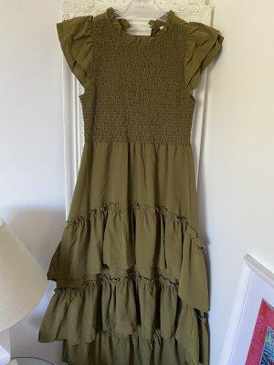 Vila Kleid in Khaki mit Rüschen 36