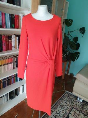 Vila Knotendetail Kleid langen Ärmeln Gr 36 (S) hellrot NEU Etuikleid casual €45