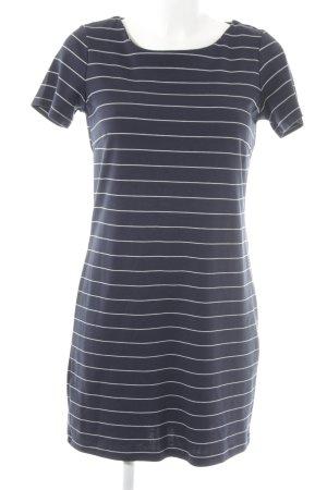 Vila Kurzarmkleid dunkelblau-weiß Streifenmuster schlichter Stil