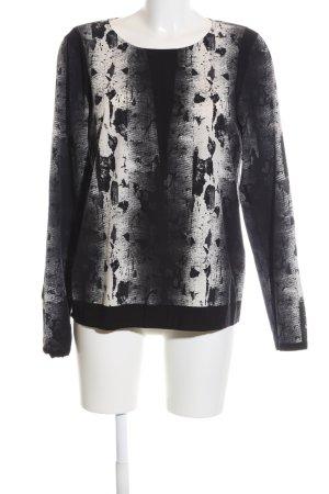 Vila Langarm-Bluse schwarz-wollweiß abstraktes Muster Casual-Look