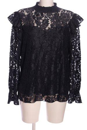 Vila Langarm-Bluse schwarz Elegant