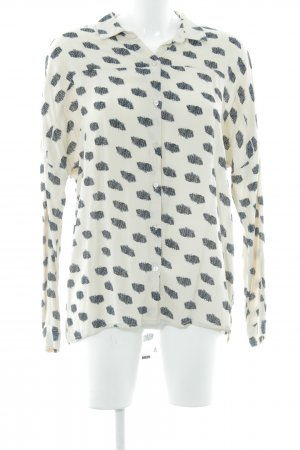 Vila Langarm-Bluse creme abstraktes Muster Casual-Look