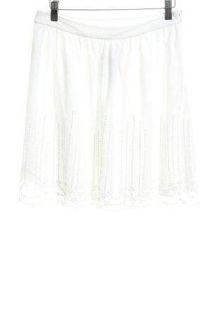 Vila Spódnica midi w kolorze białej wełny Lamówka z koronki