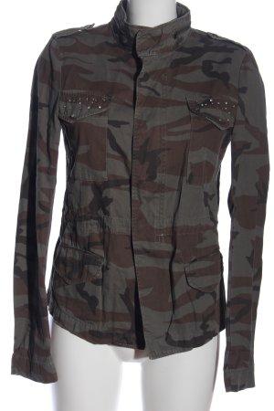 Vila Giacca militare grigio chiaro-marrone stampa integrale stile casual