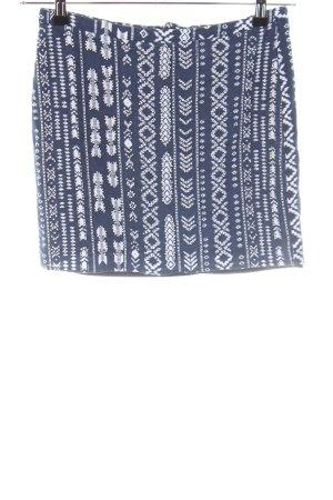 Vila Minirock blau-weiß abstraktes Muster Casual-Look