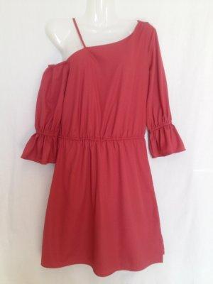 Vila Robe asymétrique rouille-rouge framboise polyester