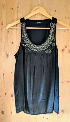 Vila Clothes Haut en soie noir-argenté