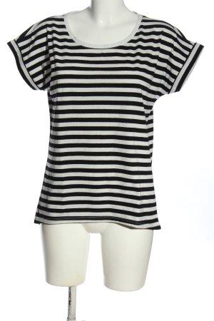 Vila Koszulka w paski czarny-biały Na całej powierzchni W stylu casual