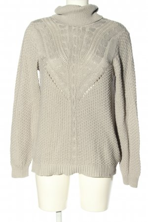 Vila Turtleneck Sweater light grey cable stitch casual look