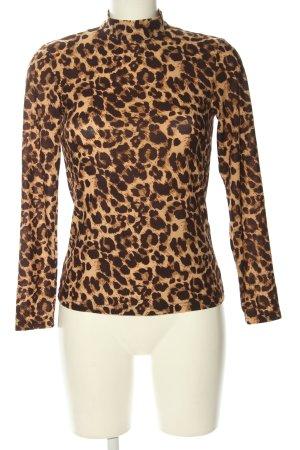 Vila Camisa de cuello de tortuga marrón-crema estampado de leopardo look casual
