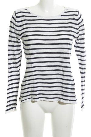 Vila Rundhalspullover weiß-schwarz Streifenmuster Casual-Look