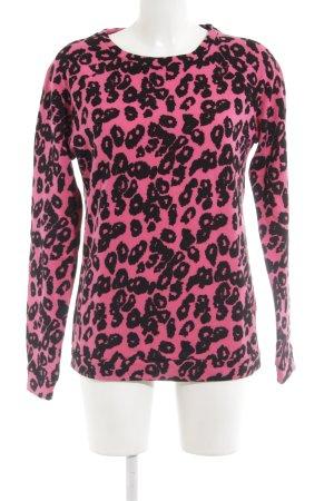 Vila Rundhalspullover schwarz-pink Leomuster Animal-Look