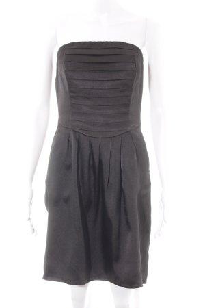 Vila schulterfreies Kleid schwarz Glanz-Optik