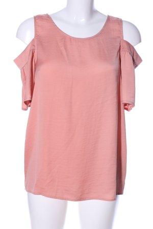 Vila Top sin hombros rosa look casual