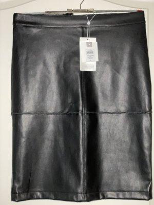 Vila Faux Leather Skirt black