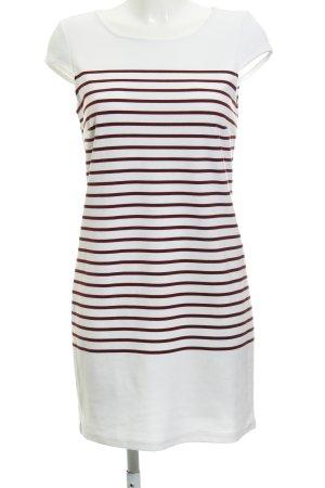 Vila Shirtkleid weiß-bordeauxrot Streifenmuster sportlicher Stil