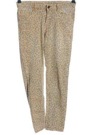 Vila Slim Jeans braun-blassgelb Animalmuster Casual-Look