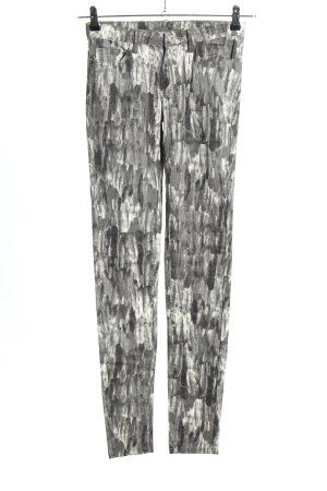 Vila Skinny Jeans hellgrau-wollweiß abstraktes Muster Casual-Look