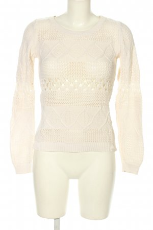 Vila Strickpullover wollweiß Zopfmuster Casual-Look