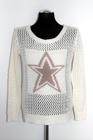 Vila Sweter z dzianiny w kolorze białej wełny-jasnobrązowy