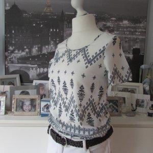 VILA * %Summer Sale% Süßes Viskose Blusenshirt * weiß-schwarz Ethno * S=36