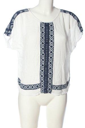 Vila T-Shirt weiß-blau grafisches Muster Casual-Look