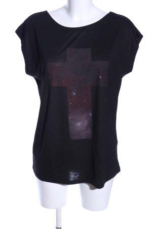 Vila T-Shirt schwarz-lila Motivdruck Casual-Look
