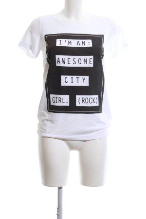 Vila T-Shirt weiß-schwarz Schriftzug gedruckt Casual-Look