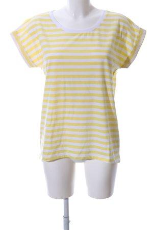 Vila T-Shirt weiß-blassgelb Streifenmuster Casual-Look