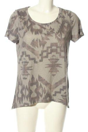 Vila T-Shirt hellgrau-braun Allover-Druck Casual-Look