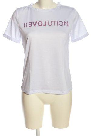 Vila T-Shirt weiß-pink Schriftzug gedruckt Casual-Look