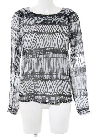 Vila Transparenz-Bluse schwarz-weiß Streifenmuster Casual-Look