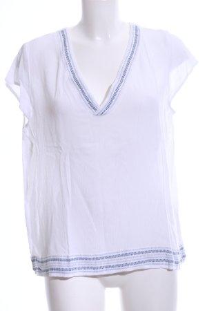 Vila V-Ausschnitt-Shirt weiß-blau Streifenmuster Casual-Look