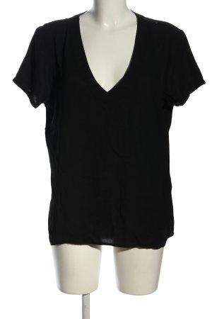 Vila V-Ausschnitt-Shirt schwarz Casual-Look