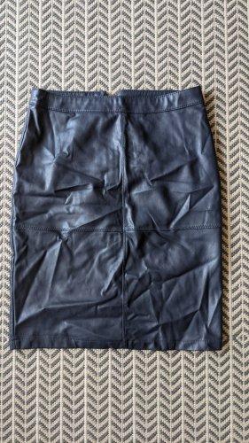 Vila Faux Leather Skirt dark blue