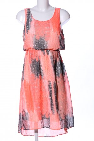 Vila Vokuhila-Kleid hellorange-hellgrau grafisches Muster Elegant
