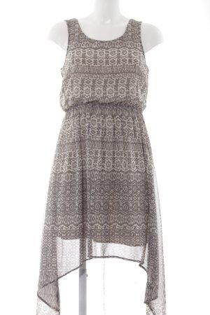 Vila Vokuhila-Kleid creme-grau abstraktes Muster Boho-Look