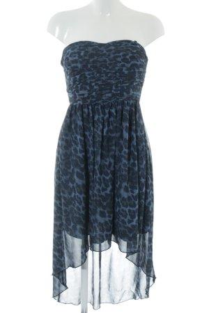 Vila Vokuhila-Kleid blau-schwarz Leomuster Elegant