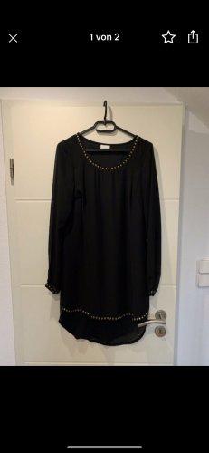 Vila High Low Dress black-gold-colored