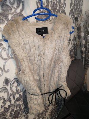 Vila Clothes Fake Fur Vest beige