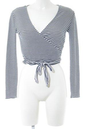 Vila Camisa cruzada negro-blanco estampado a rayas look casual