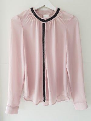 VILLA Bluse, leicht transparent, Gr.S, rosa/schwarz