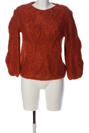 Villa Szydełkowany sweter brązowy Warkoczowy wzór W stylu casual