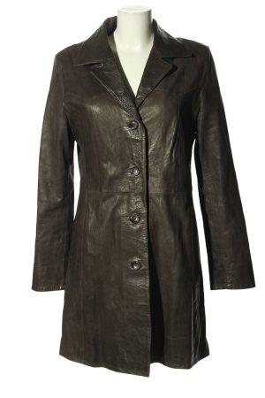 Vimapel Manteau en cuir brun style décontracté