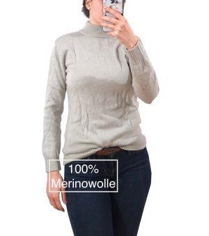 Vintage 100% Mer1nowolle Gr. 38 Pullover Turtleneck grau