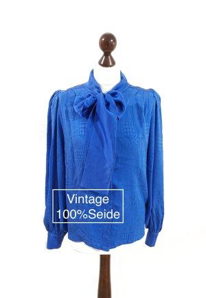 Vintage 100% Seide Bluse Royalblue Gr. 38