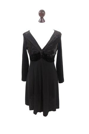 Vintage 1980's schwarzes Designerkleid mit Chiffon und Samt vonPaolina Evolution Paris