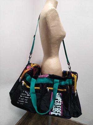 Vintage 1990s Reisetasche / Sporttasche schwarz bunt
